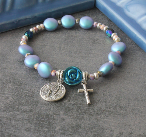 St Bernadette & Our Lady of Lourdes Prayer Bracelet, Blue Swarovski Pearls