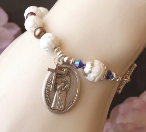 Saint Cajetan / Cayetano) Rosary Bracelet, White Shell & Freshwater Pearls, Plus Sizes Available