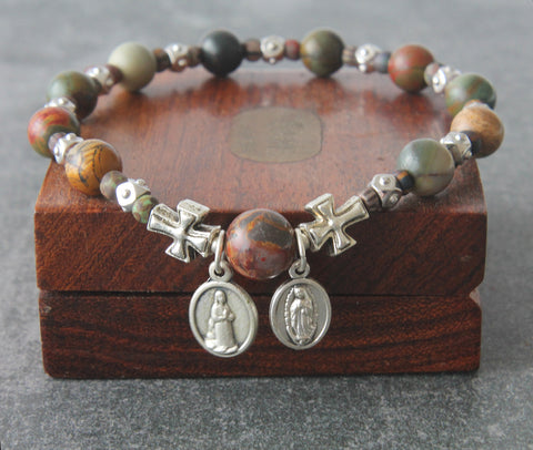 Mans bracelet Our Lady of Guadalupe, Divine Mercy