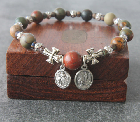 Rosary Prayer Bracelet, Roll-On Catholic Saint Bracelet