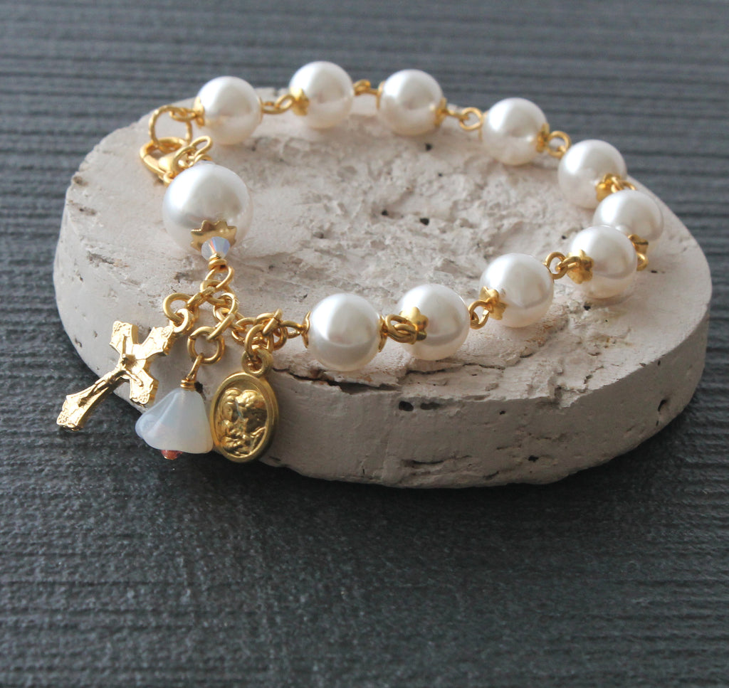 Catholic rosary bracelet white pearls with gold Holy Family medal