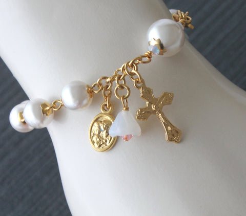 Holy Family bracelet, white pearls, handmade New Zealand