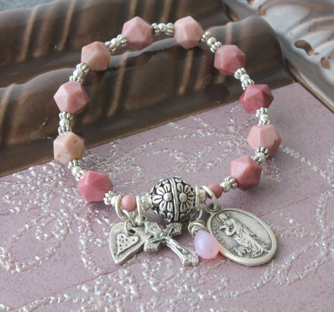 Stretch rosary bracelet, St Agatha, handmade in New Zealand, pink gemstone beads