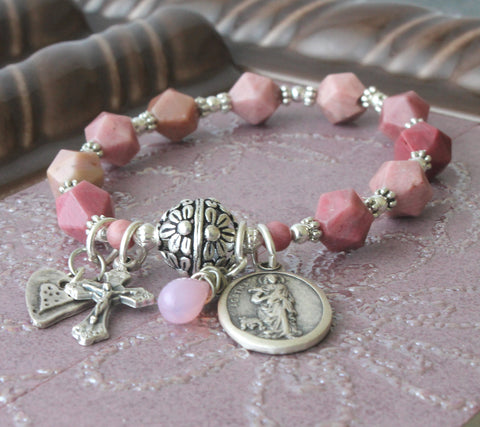 St Agatha Bracelet, Stretch Roll-On Wrist Rosary, Plus Sizes Available