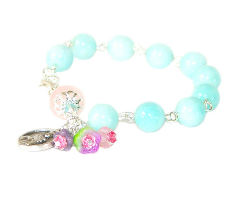 St Therese Rosary Bracelet, Blue Amazonite Beads