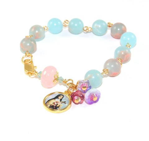 St Therese Rosary Bracelet, Natural Gemstone Beads