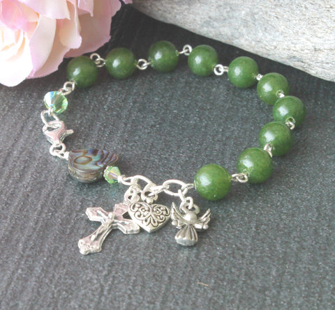 Nephrite Jade (Greenstone) Rosary Bracelet, Paua Shell Heart, Guardian Angel