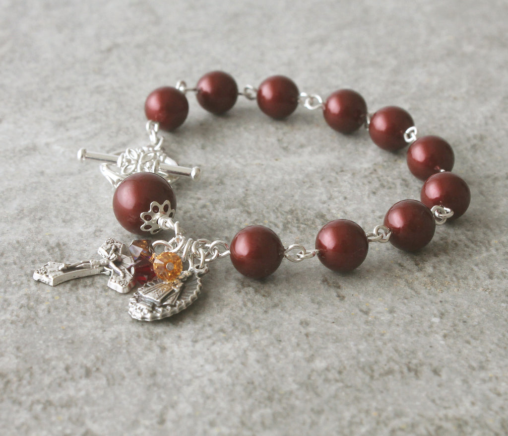 Infant of Prague rosary bracelet, Swarovski pearls, handmade New Zealand