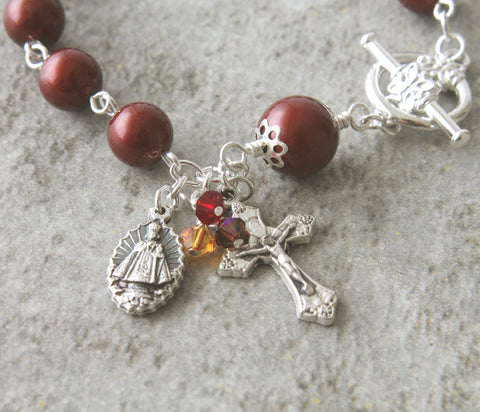 Catholic bracelet, Sacred Heart Infant of prague, burgundy pearls