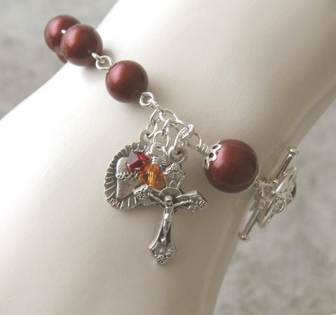 Rosary Bracelet, Infant of Prague Medal, Swarovski ® Burgundy Pearls and Silver Medal