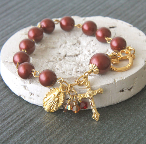 Rosary Bracelet, Infant of Prague Medal, Swarovski Burgundy Pearls & Gold Medal