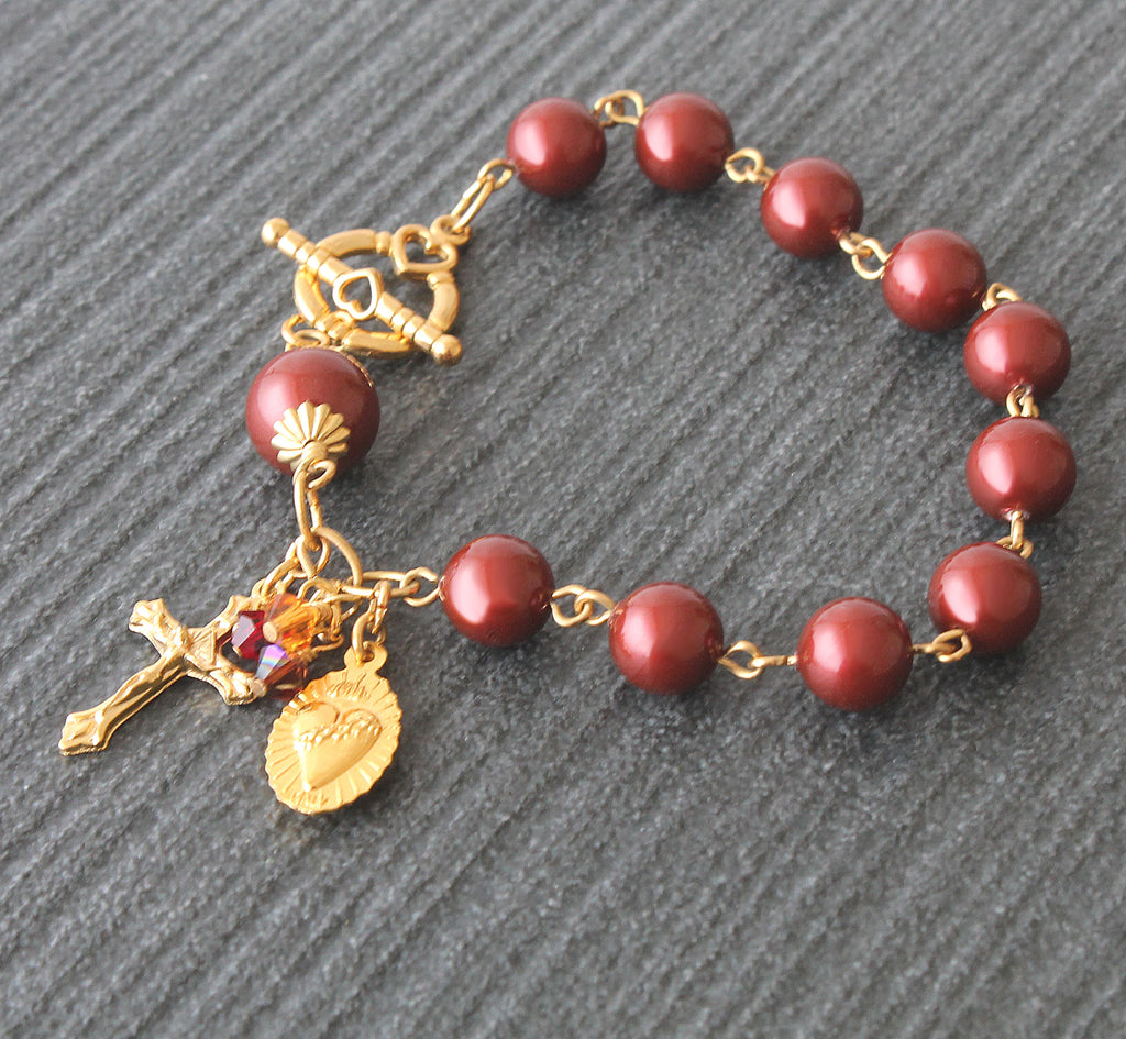Infant of Prague rosary bracelet, handmade New Zealand