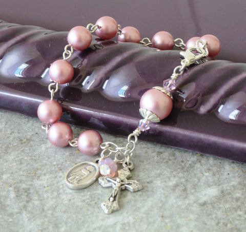 St Peregrine Rosary Bracelet, Choose Your Pearl Color