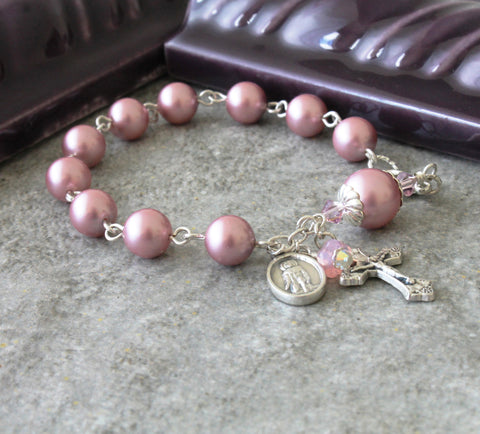 St Peregrine Rosary Bracelet, Rose Pink or Choose Your Pearl Color