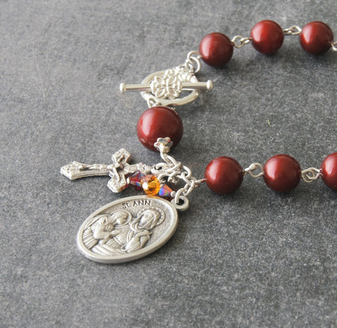St Ann Rosary Bracelet, Choose Your Color Pearls