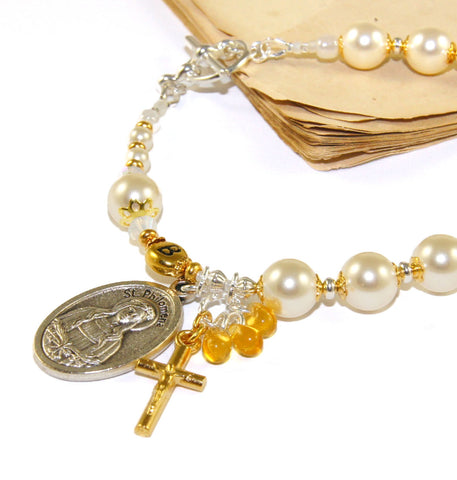Philomena, patron saint of children, babies, youth, Swarovski pearl bracelet