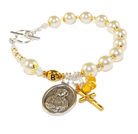 St Philomena Rosary Bracelet, Personalized Letter bead, Cream Swarovski Pearl Catholic Jewelry