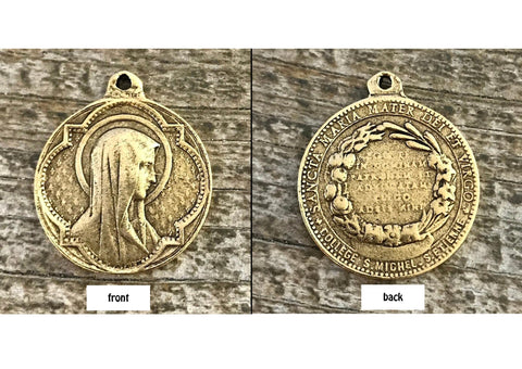 Virgin Mary pendant, gold pewter