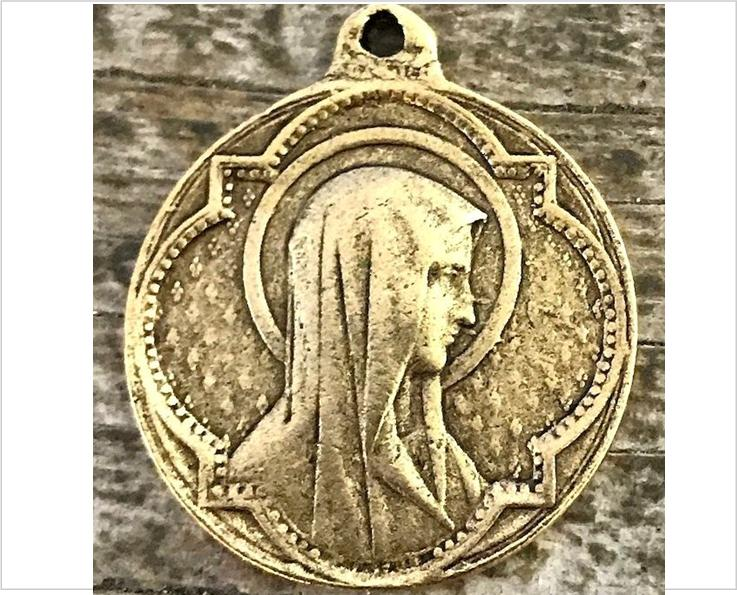 Bronze virgin mary medal