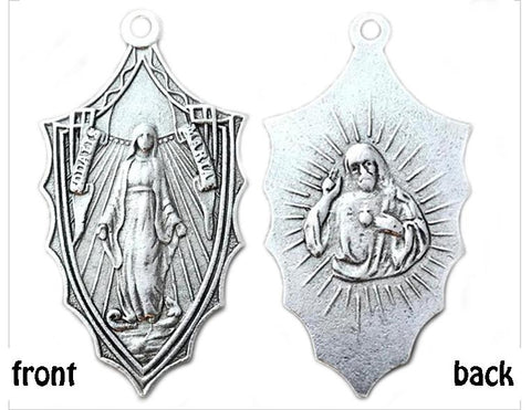 Catho,lic Virgin Mary pendant, antiqued silver pewter