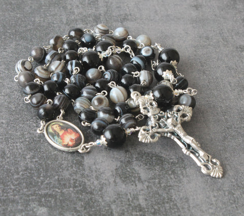 Catholic mans rosary, black agate, handmade New Zealand