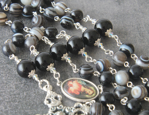Sacred Heart rosary, agate gemstone beads, 5 decades