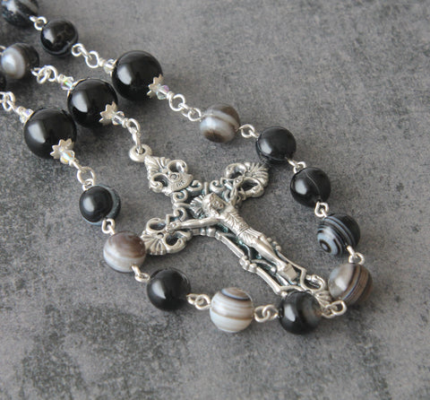 Linked rosary Sacred Heart, black beads for men