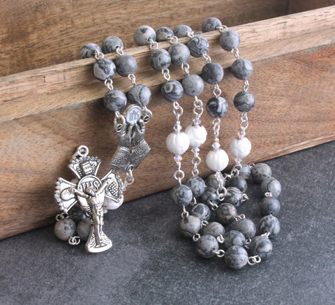 Eucharist Rosary, Grey Agate & White Shell Beads