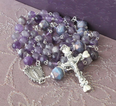 Amethyst Rosary with Hearts Cross