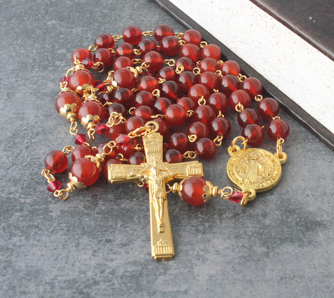 Carnelian gemstone bead rosary, handmade New Zealand