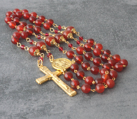 St Benedict Rosary, Carnelian Gemstone Beads with Gold