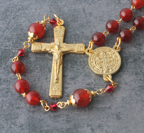 Saint Benedict rosary, red and gold, NZ Catholic shop
