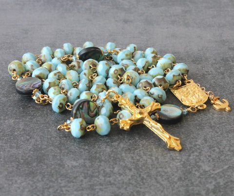 Mary Untier of Knots & Pope Francis 6 Decade Rosary, Paua Shell, Czech Crystal Beads