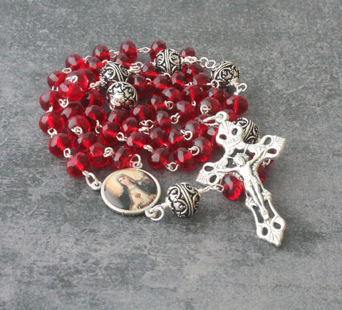 Red Catholic Rosary, Immaculate Heart of Mary Center