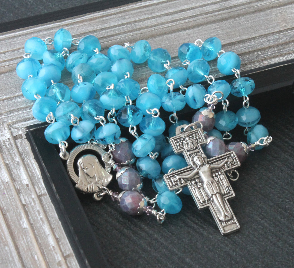 Blue crystal Catholic rosary of Our Lady Virgin Mary