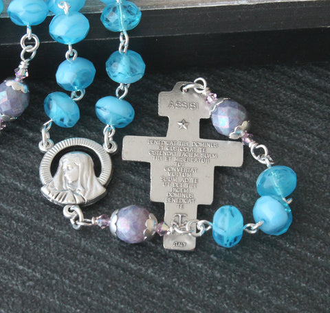 San Damiano cross handmade rosary, blue crystal from New Zealand