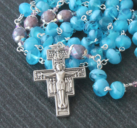Blue & Purple Crystal Rosary of Our Lady, San Damiano Cross