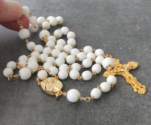 Our Lady of Sorrows handmade rosary white and gold