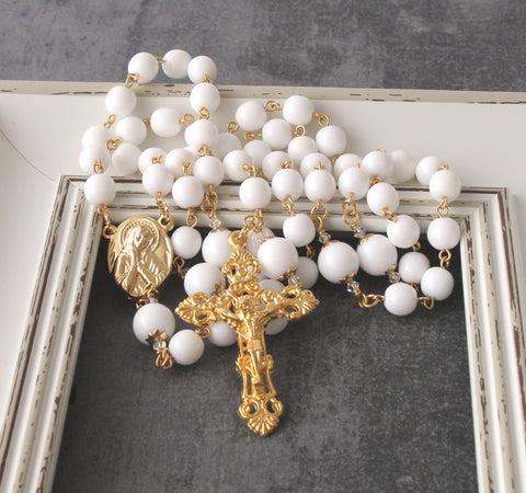 Womans rosary, white gold, New Zealand Catholic