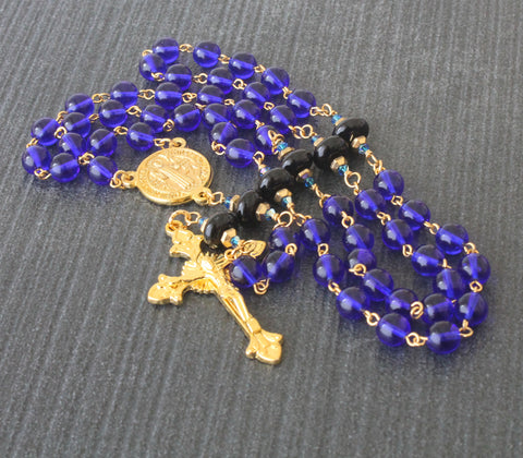 St Benedict Rosary, Blue & Gold