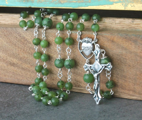 Greenstone Catholic Rosary (Nephrite Jade) NZ Made
