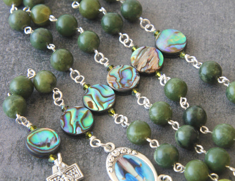 paua greenstone rosary, New Zealand handmade