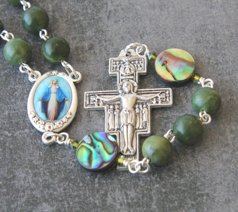 Sand Damiano cross rosary, jade abalone, New Zealand