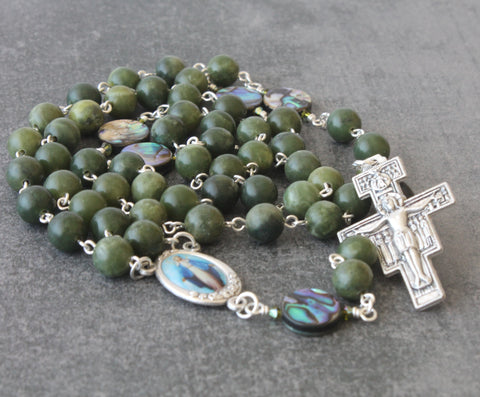 Greenstone & Paua Catholic Rosary, San Damiano Cross