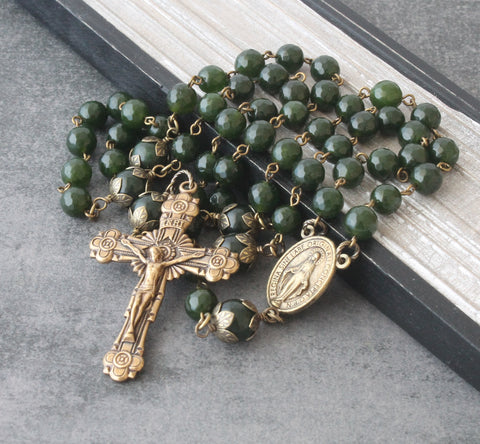 Bronze Greenstone Rosary (Nephrite Jade), Handmade in  New Zealand