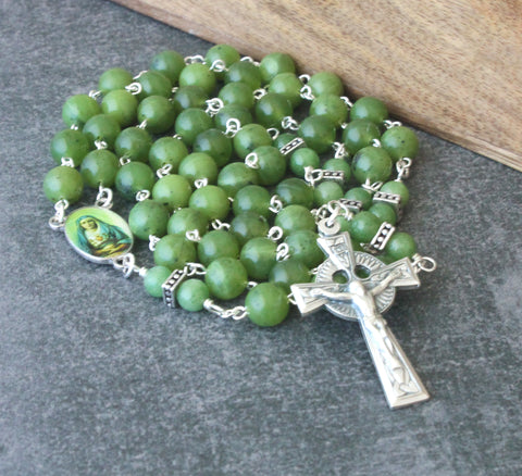 Our Lady of Sorrows Rosary, Greenstone Beads, Celtic Cross