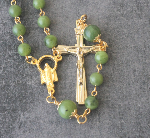 Greenstone Rosary Beads, Miraculous Medal Center, Gold Crucifix