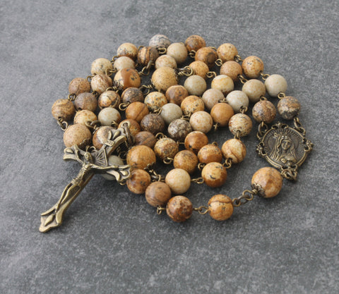 Jasper Rosary, Handmade with Bronze Crucifix