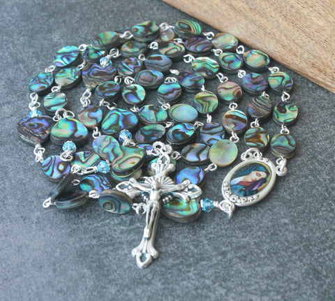 New Zealand Paua Shell Rosary, Our Lady of Sorrows Center