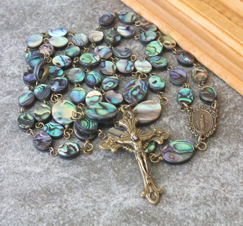 NZ Paua Rosary Prayer Beads, Handmade in New Zealand
